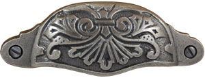 Antique Pewter Vintage Floral Cup Pull